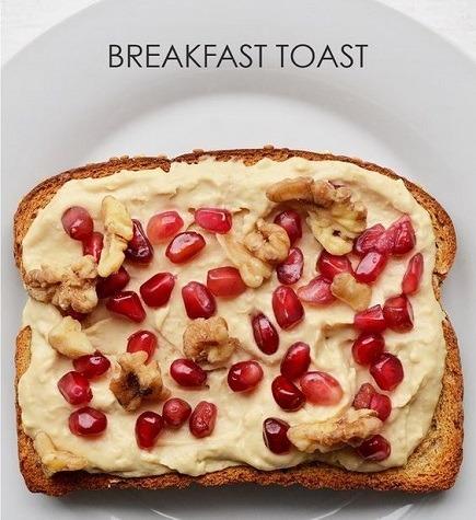 Walnuts pomegranates on hummus toast topping
