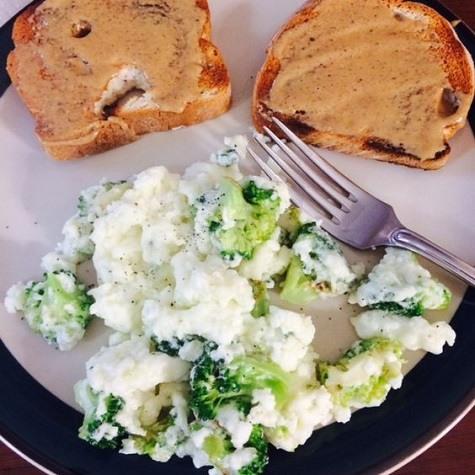 Egg white broccoli topped toast