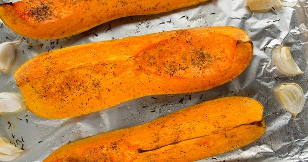 Roasted butternut squash seasoned with garlic, pepper and herbs