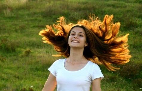 sun beaming on the hair