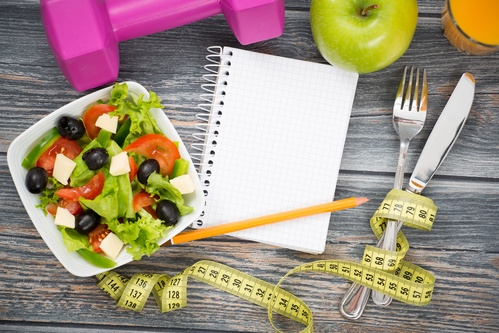 Workout and fitness dieting copy space diary.