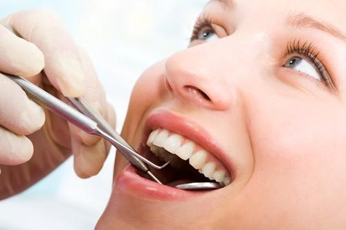 Examining mouth