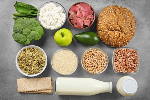 Food high in protein on grey background