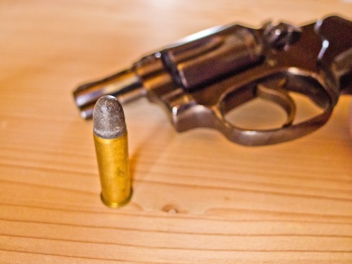 revolver with a cartridge