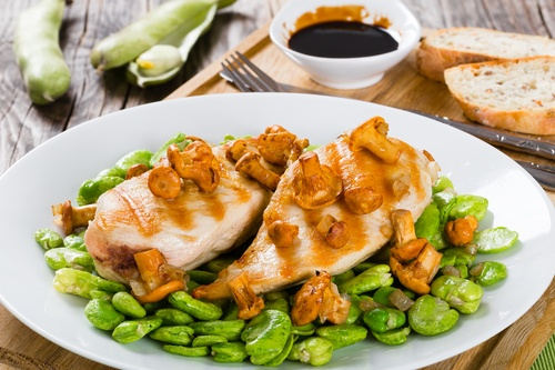 grilled chicken breast, new green lima beans