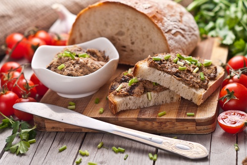 traditional rye bread with pate.