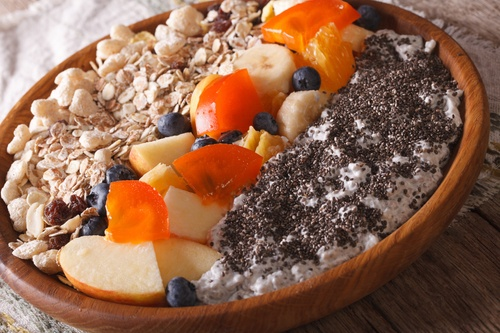 Muesli with fruit and chia seeds close-up on a plate. horizontal