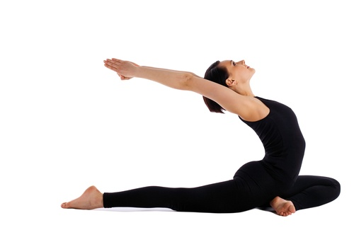 Woman lay on yoga pose - pigeon asana isolated