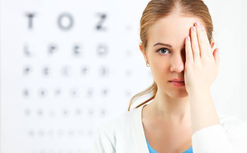 eyesight check. woman at doctor ophthalmologist optician