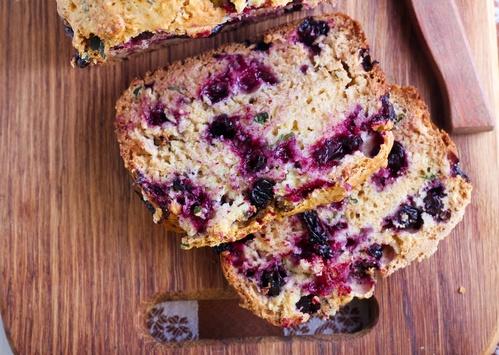 Berry, mint and spelt flour teacake,
