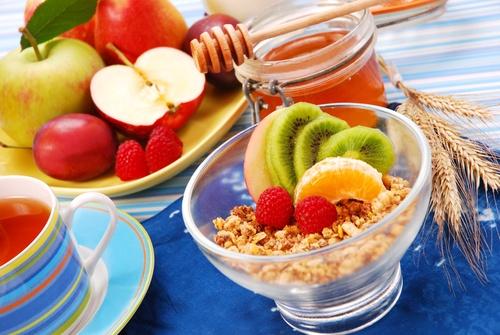 muesli with fresh fruits as diet breakfast