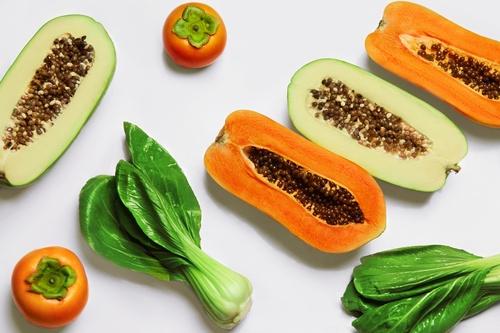 Healthy Raw Organic Food. Fruits, Vegetables Background. Vegetar