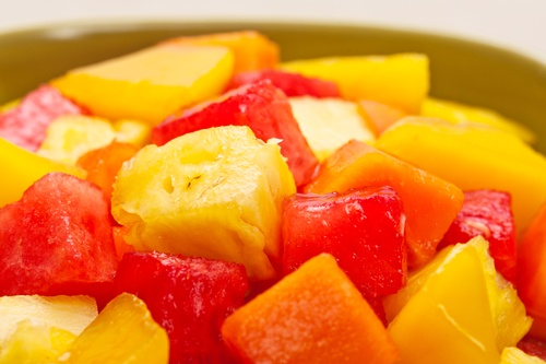 One bowl of Mixed tropical fruit salad